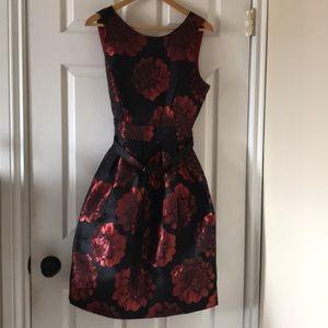 BROKEN ZIPPER goth dahlia red black dress satin